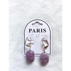 boucles d'oreilles améthyste rectangle