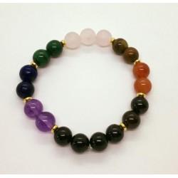 bracelet 7 chakras tourmaline haute qualité rondelles 4mm
